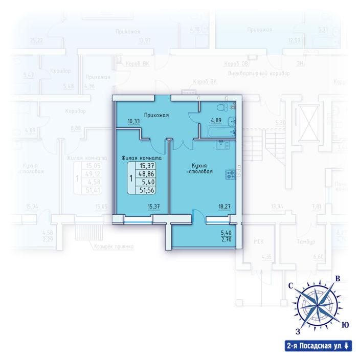 Планировка квартиры (помещения) 37                                                         , ЖК «Зенит»