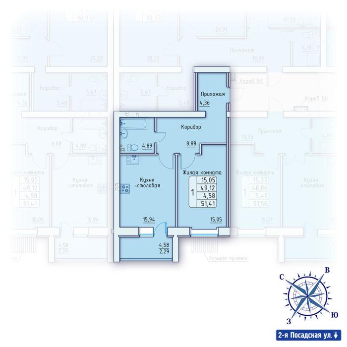 Планировка квартиры (помещения) 38                                                         , ЖК «Зенит»