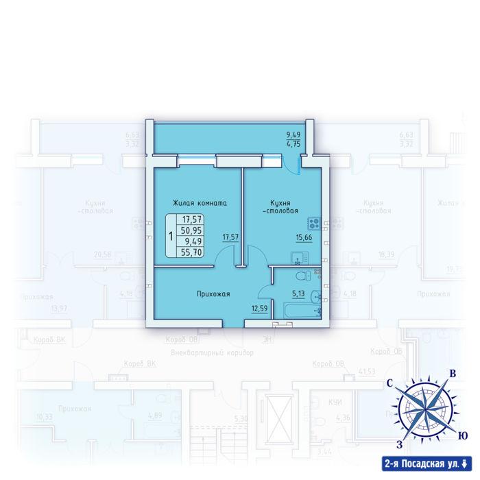 Планировка квартиры (помещения) 40                                                         , ЖК «Зенит»