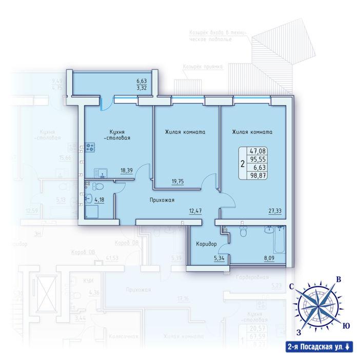 Планировка квартиры (помещения) 41                                                         , ЖК «Зенит»