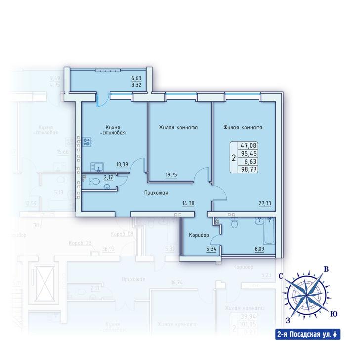 Планировка квартиры (помещения) 46                                                         , ЖК «Зенит»