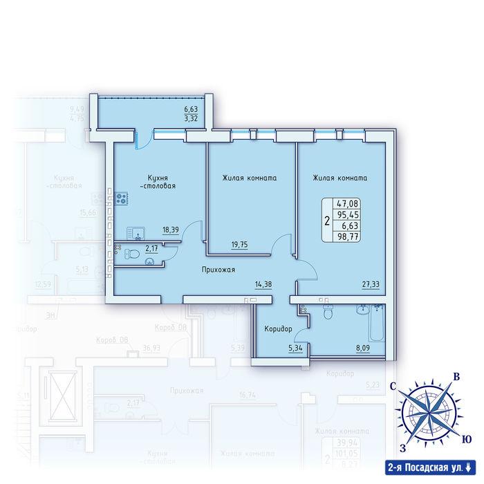 Планировка квартиры (помещения) 51                                                         , ЖК «Зенит»