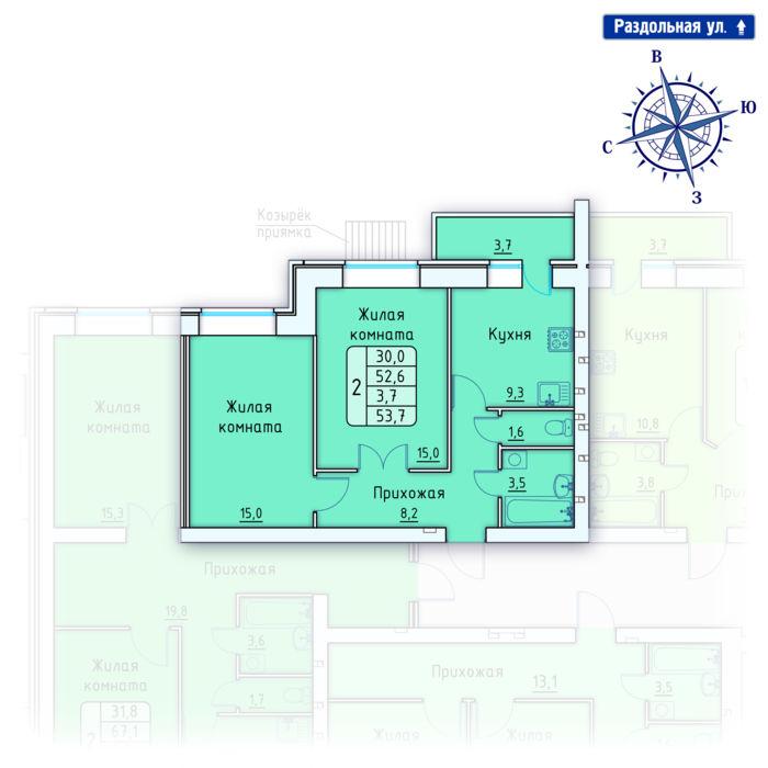 Планировка квартиры (помещения) 3                                                         , Позиция 4.