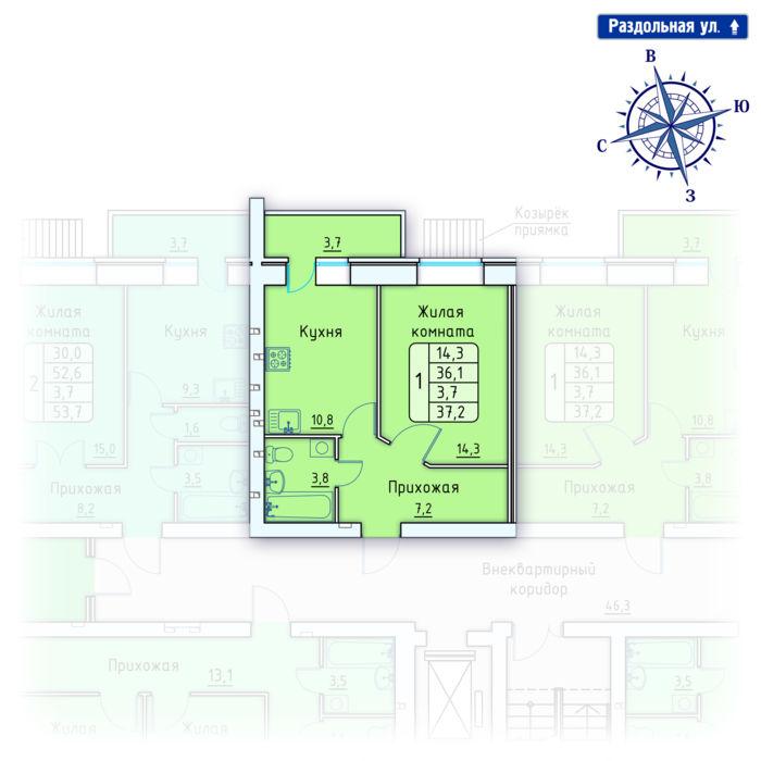 Планировка квартиры (помещения) 4                                                         , Позиция 4.