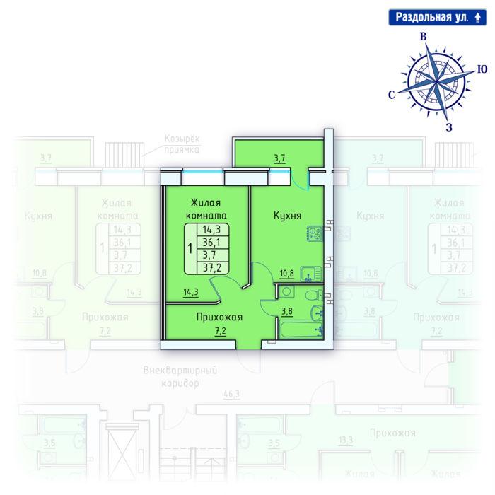 Планировка квартиры (помещения) 5                                                         , Позиция 4.