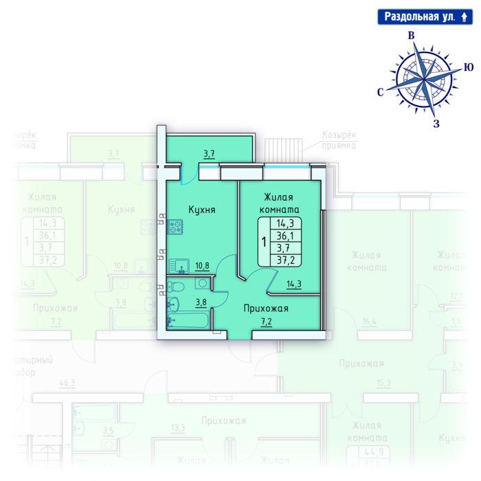 Планировка квартиры (помещения) 6                                                         , Позиция 4.