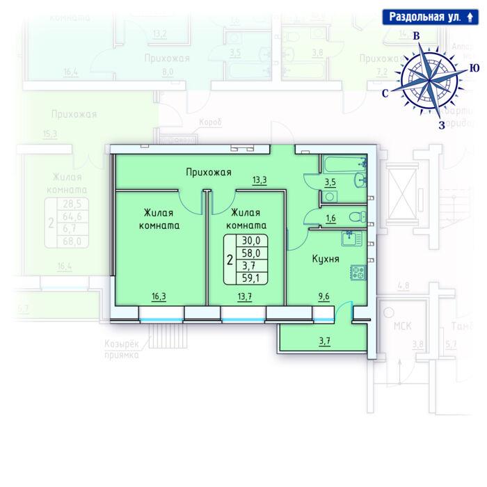 Планировка квартиры (помещения) 73                                                         , Позиция 4.