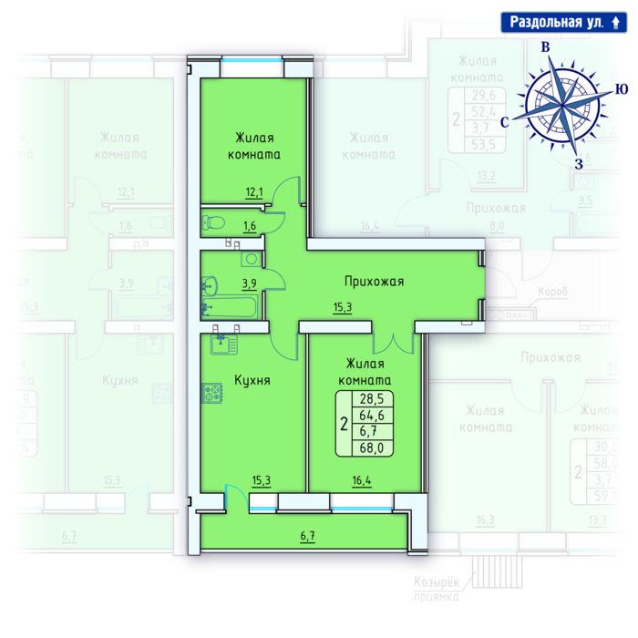 Планировка квартиры (помещения) 74                                                         , Позиция 4.