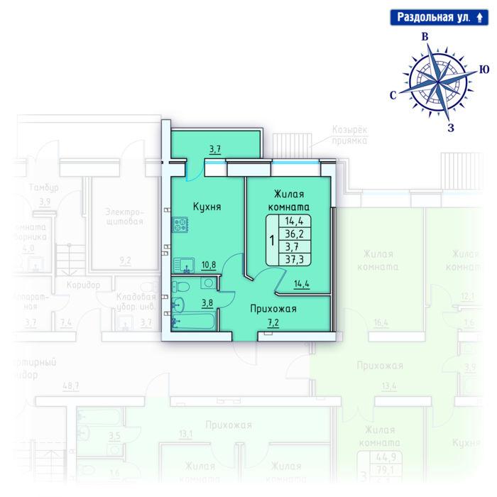 Планировка квартиры (помещения) 77                                                         , Позиция 4.