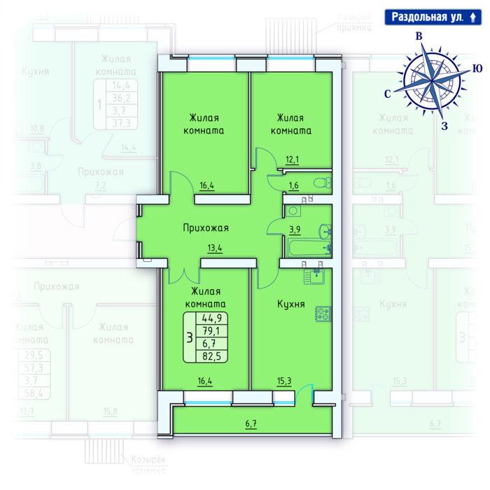 Планировка квартиры (помещения) 78                                                         , Позиция 4.