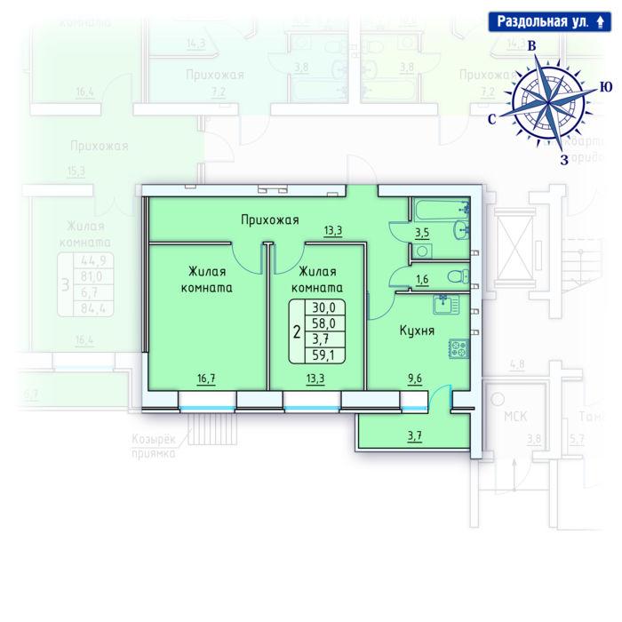 Планировка квартиры (помещения) 144                                                         , Позиция 4.
