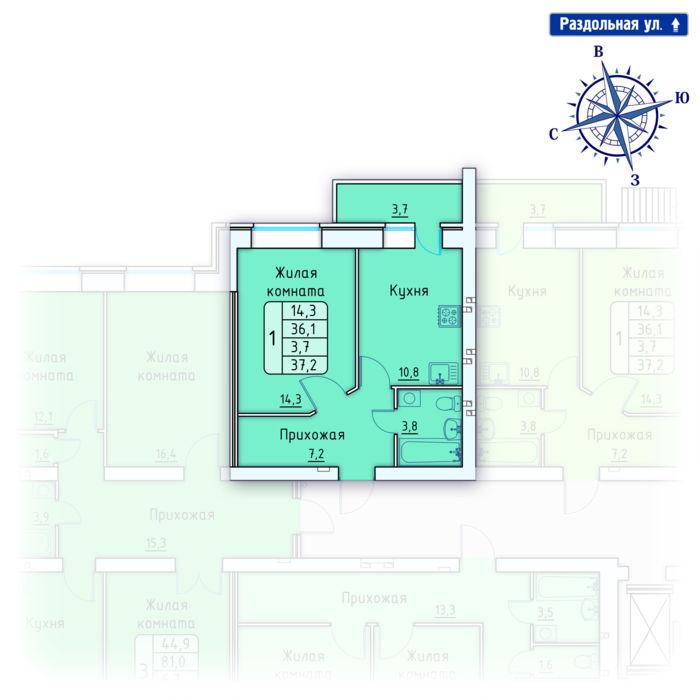 Планировка квартиры (помещения) 146                                                         , Позиция 4.