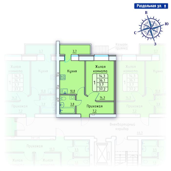 Планировка квартиры (помещения) 147                                                         , Позиция 4.