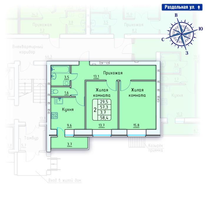 Планировка квартиры (помещения) 151                                                         , Позиция 4.