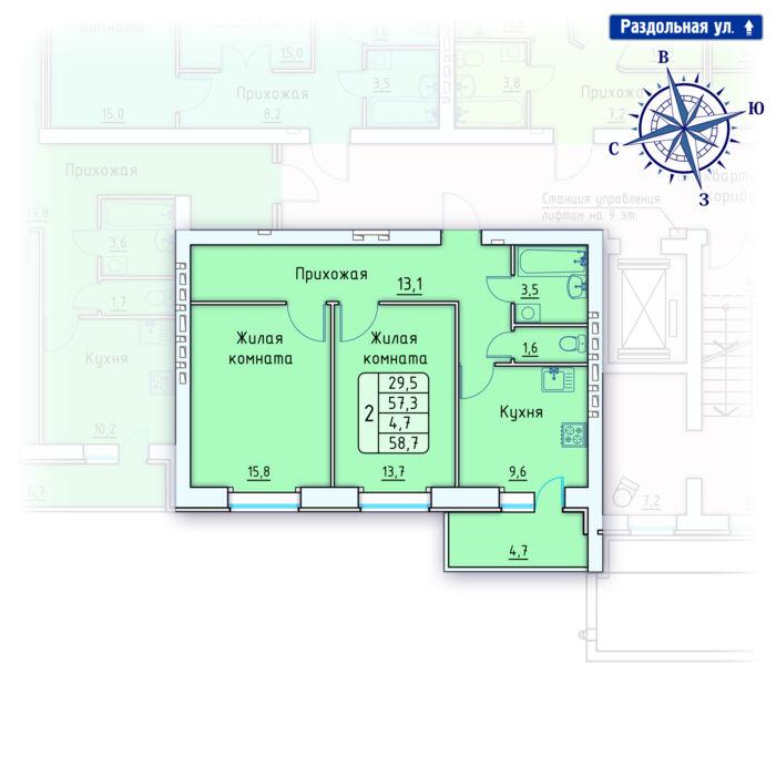 Планировка квартиры (помещения) 9                                                         , Позиция 4.