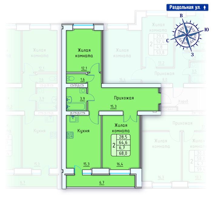 Планировка квартиры (помещения) 81                                                         , Позиция 4.