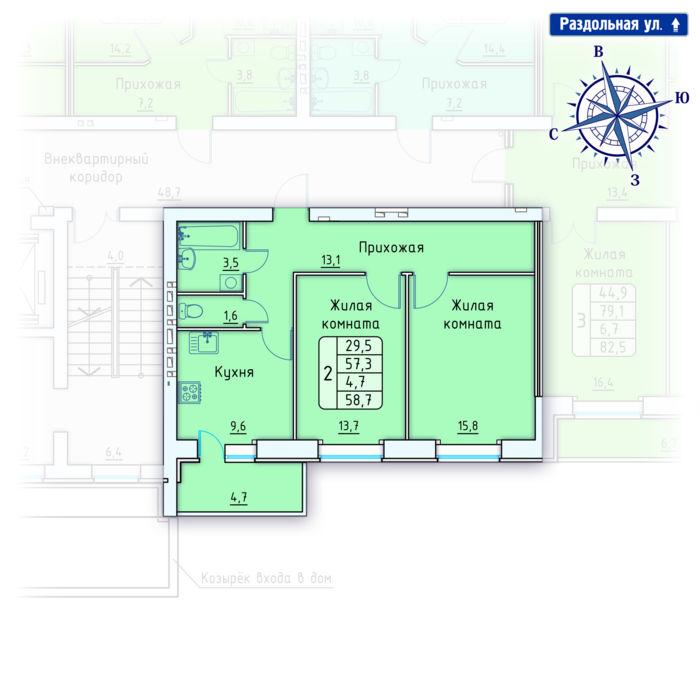 Планировка квартиры (помещения) 95                                                         , Позиция 4.
