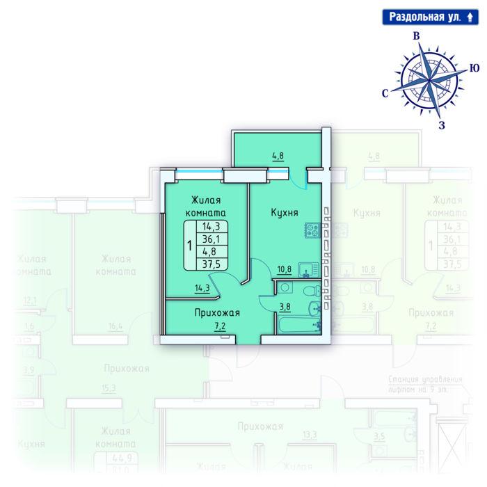 Планировка квартиры (помещения) 162                                                         , Позиция 4.
