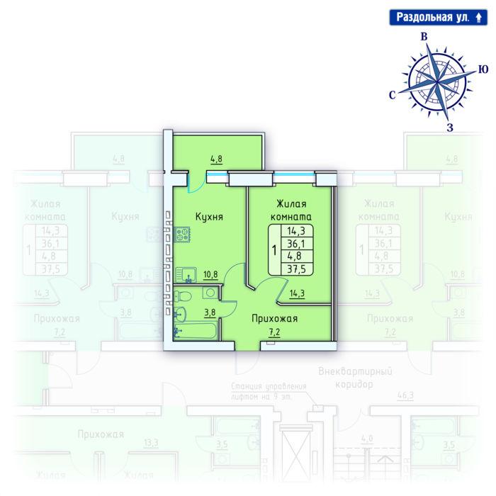 Планировка квартиры (помещения) 163                                                         , Позиция 4.
