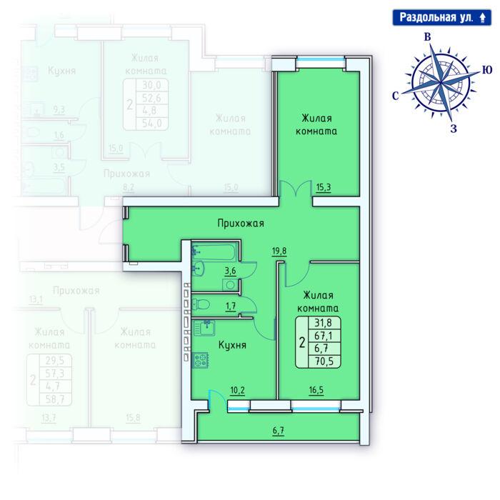 Планировка квартиры (помещения) 158                                                         , Позиция 4.