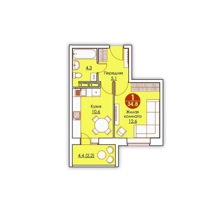 Планировка квартиры (помещения) 11                                                         , ЖК «Все свои»