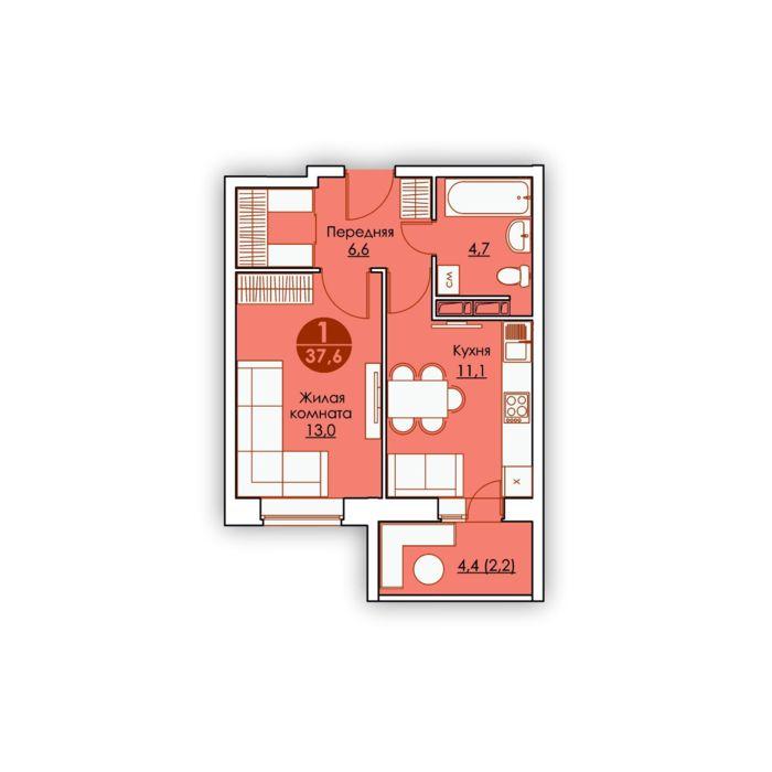 Планировка квартиры (помещения) 5                                                         , ЖК «Все свои»