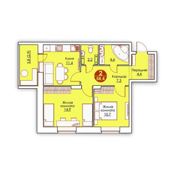 Планировка квартиры (помещения) 10                                                         , ЖК «Все свои»