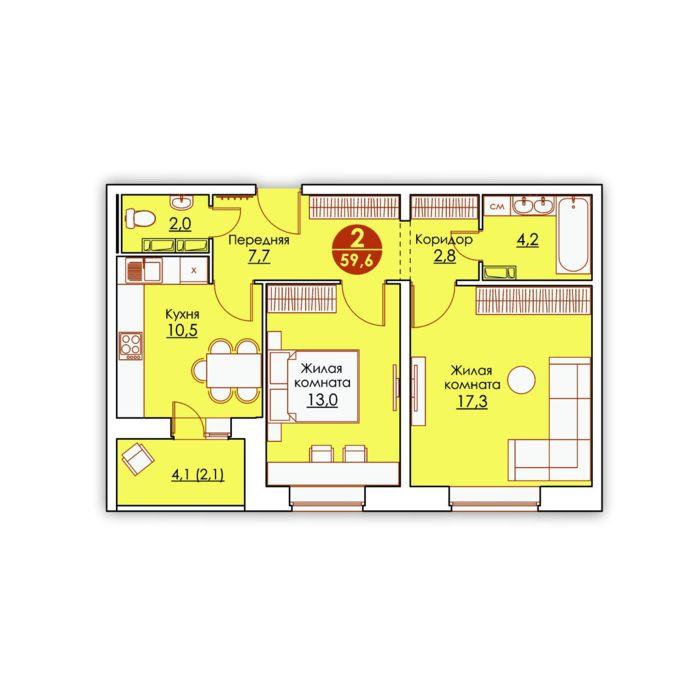 Планировка квартиры (помещения) 6                                                         , ЖК «Все свои»