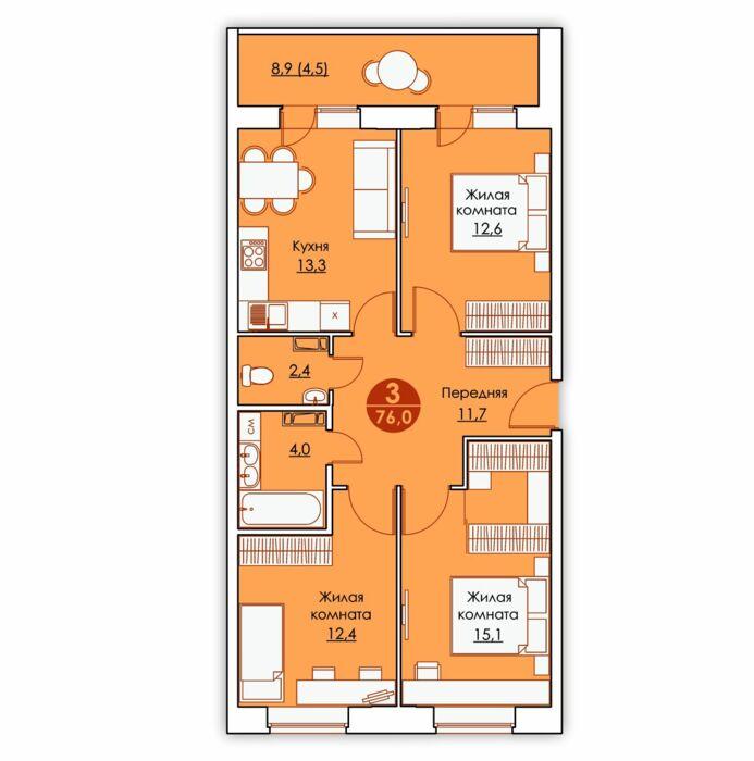 Планировка квартиры (помещения) 7                                                         , ЖК «Все свои»