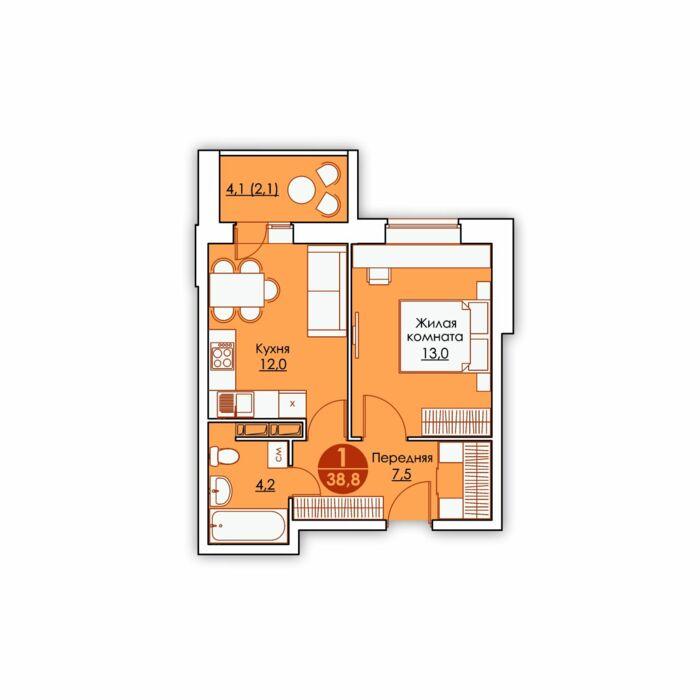 Планировка квартиры (помещения) 15                                                         , ЖК «Все свои»