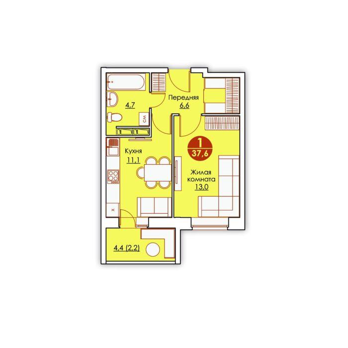 Планировка квартиры (помещения) 138                                                         , ЖК «Все свои»
