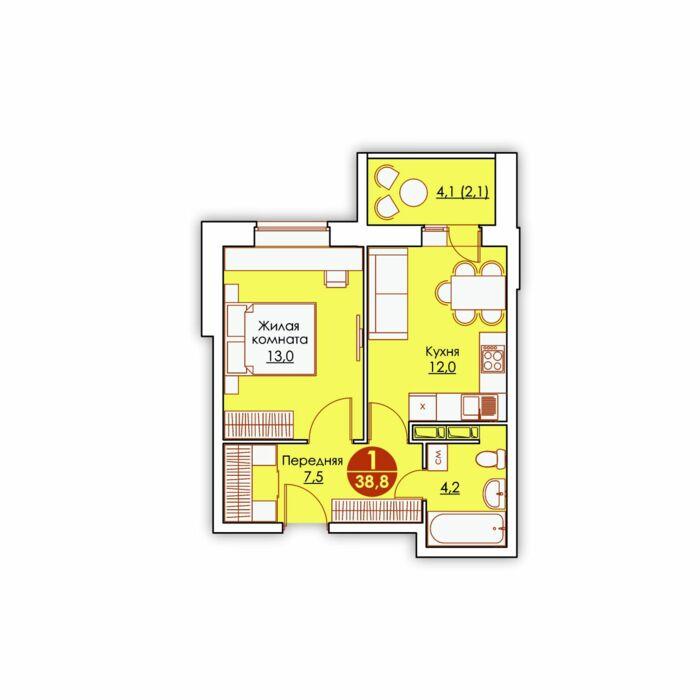 Планировка квартиры (помещения) 143                                                         , ЖК «Все свои»