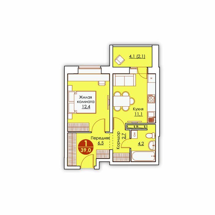 Планировка квартиры (помещения) 142                                                         , ЖК «Все свои»
