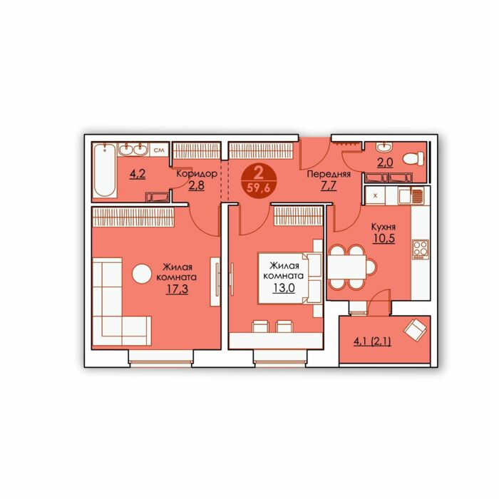 Планировка квартиры (помещения) 137                                                         , ЖК «Все свои»