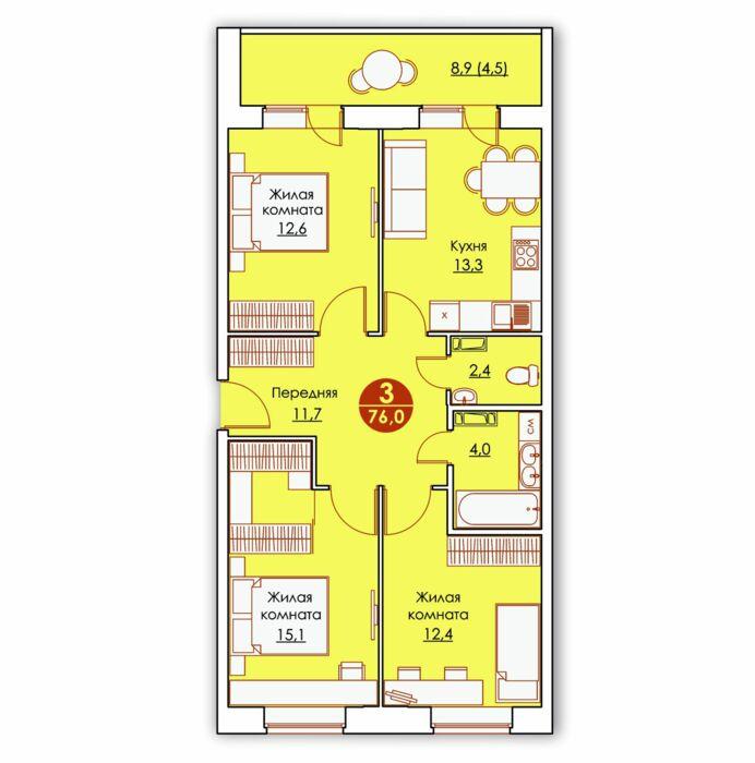 Планировка квартиры (помещения) 136                                                         , ЖК «Все свои»