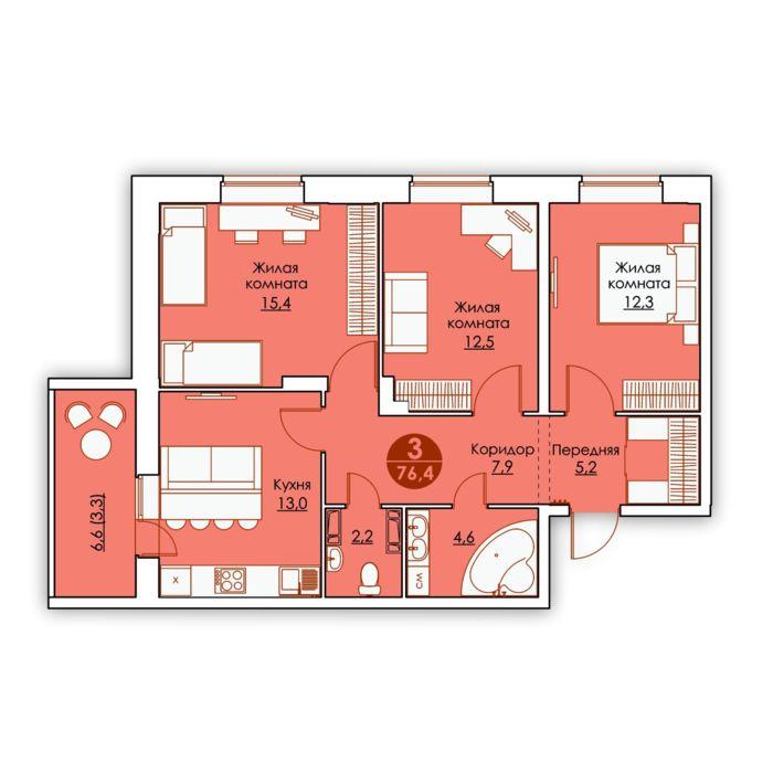 Планировка квартиры (помещения) 141                                                         , ЖК «Все свои»