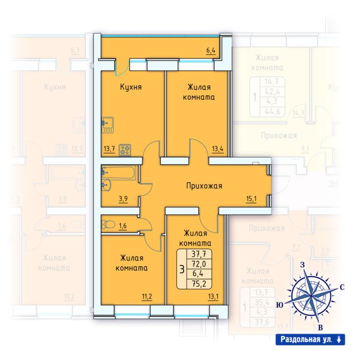Планировка квартиры (помещения) 8                                                         , Позиция 3.