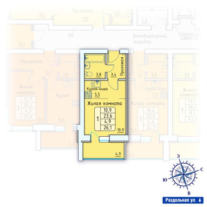 Планировка квартиры (помещения) 42                                                         , Позиция 3.
