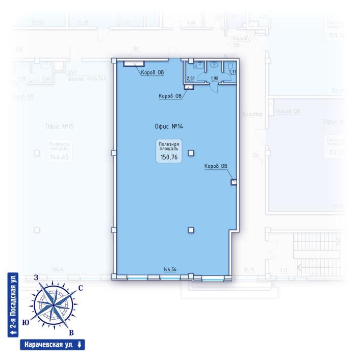 Планировка квартиры (помещения) 14                                                         , ЖК «Зенит» Коммерческие помещения