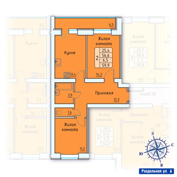 Планировка квартиры (помещения) 103                                                         , Позиция 3.