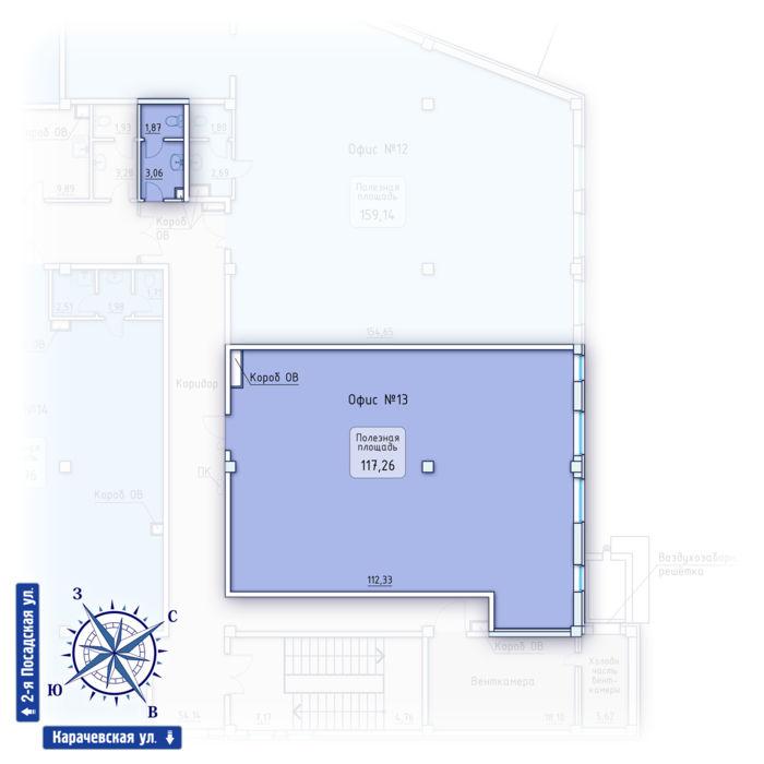 Планировка квартиры (помещения) 13                                                         , ЖК