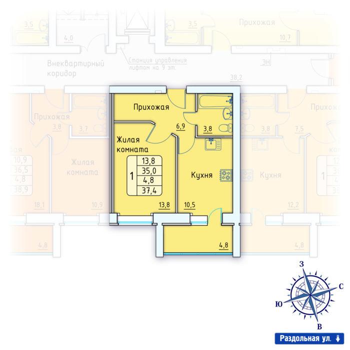Планировка квартиры (помещения) 148                                                         , Позиция 3.