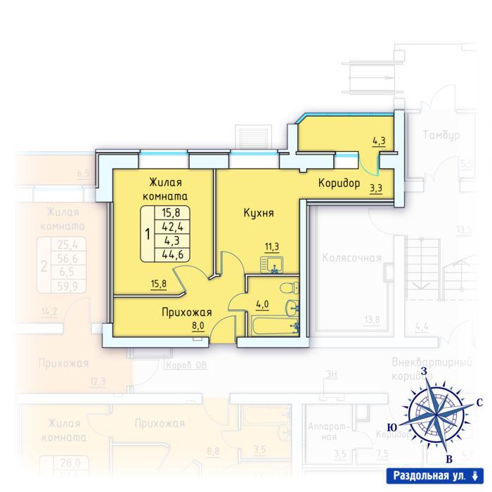 Планировка квартиры (помещения) 88                                                         , Позиция 3.