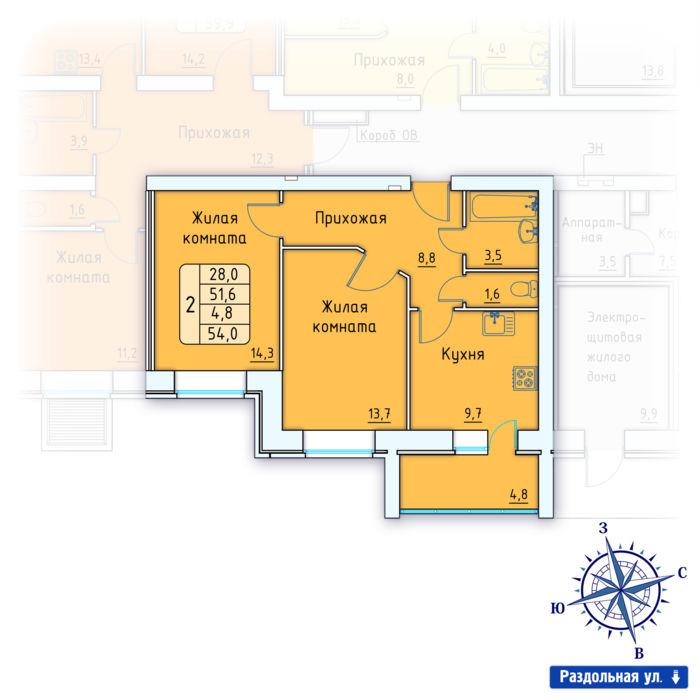 Планировка квартиры (помещения) 86                                                         , Позиция 3.